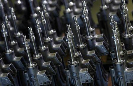 Parts for the Heckler & Koch MG 5 machine gun are pictured during a guided media tour at their headquarters in Oberndorf, 80 kilometers southwest of Stuttgart, Germany, May 8, 2015.  REUTERS/Ralph Orlowski