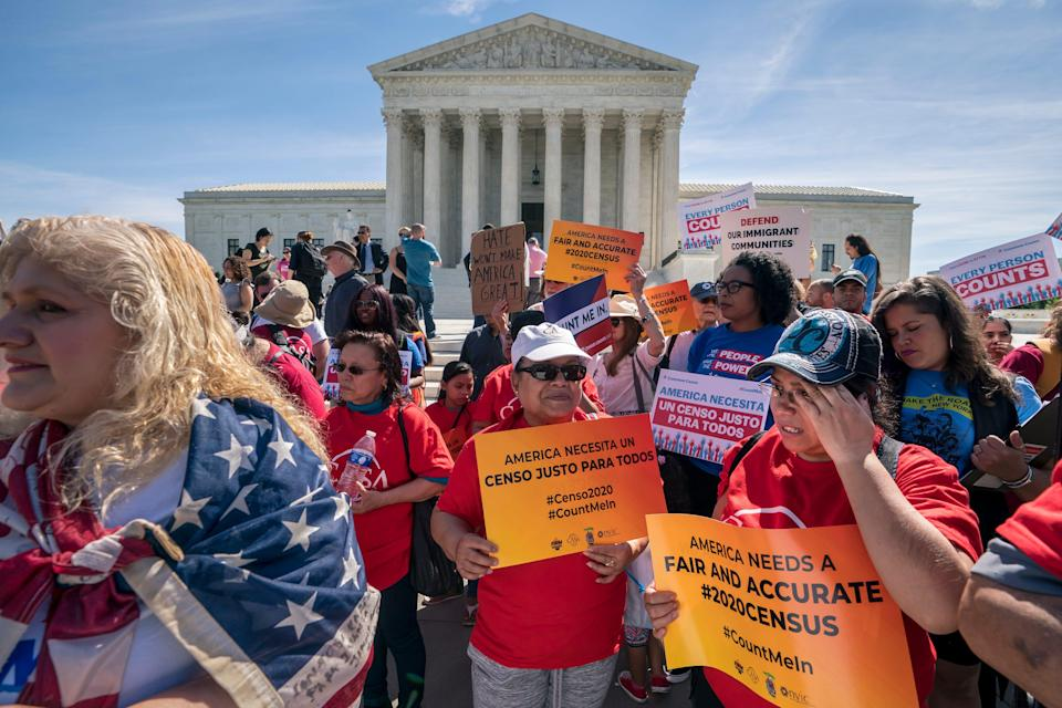 Immigration activists rallied outside the Supreme Court last year as the justices heard arguments over the Trump administration's plan to ask about citizenship on the 2020 census.