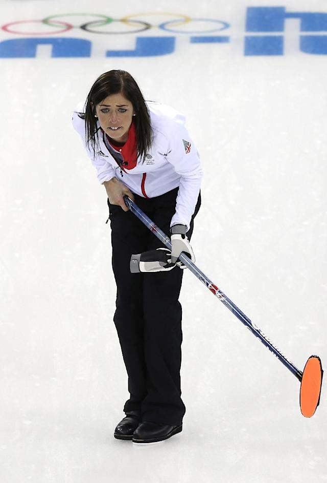 Great Britain's skip Eve Muirhead watches the rock during the women's curling competition against Sweden at the 2014 Winter Olympics, Monday, Feb. 10, 2014, in Sochi, Russia. (AP Photo/Wong Maye-E)