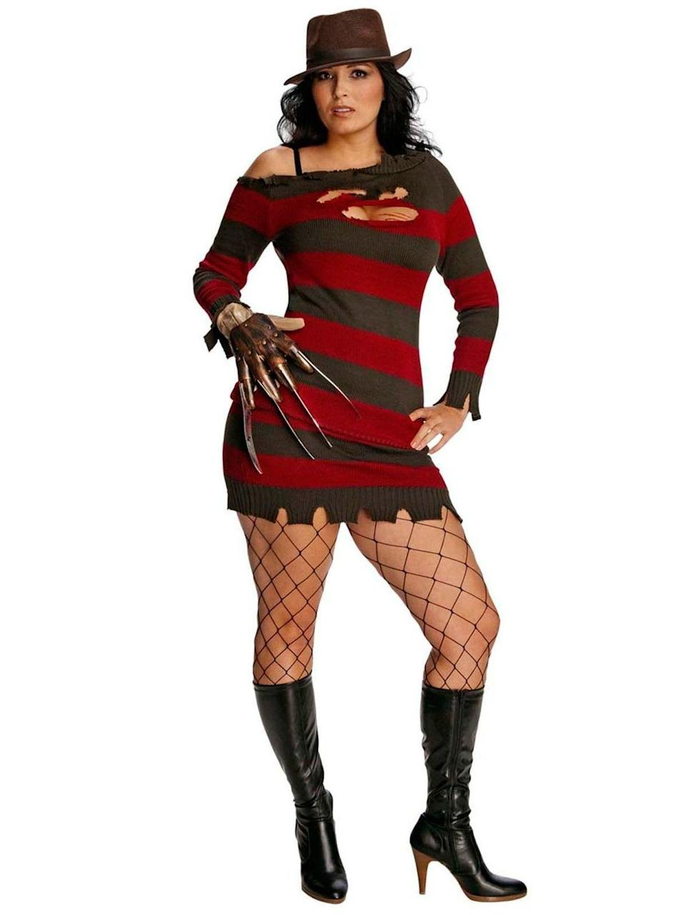 "<p><strong>Costume Supercenter</strong></p><p>costumesupercenter.com</p><p><strong>$50.39</strong></p><p><a href=""https://www.costumesupercenter.com/products/nightmare-on-elm-street-miss-freddy-kruger-plus-costume"" rel=""nofollow noopener"" target=""_blank"" data-ylk=""slk:SHOP NOW"" class=""link rapid-noclick-resp"">SHOP NOW</a></p><p>Truly the stuff of nightmares. (How does one pull on fishnets with a knife glove?) </p>"
