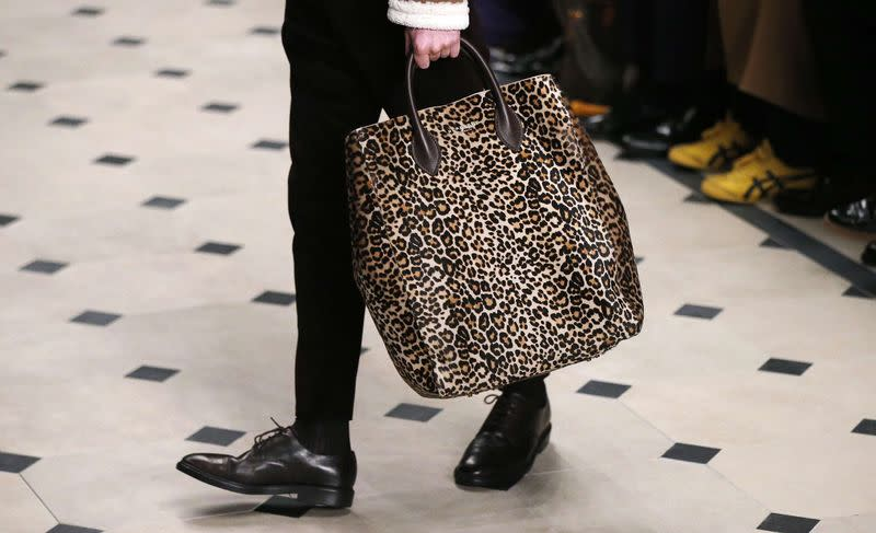 """A model presents a creation from the Burberry Prorsum Autumn/Winter 2015 collection during """"London Collections: Men"""" in London"""