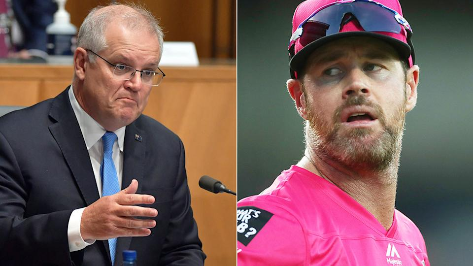 Pictured right, Big Bash cricketer Dan Christian and Prime Minister Scott Morrison.