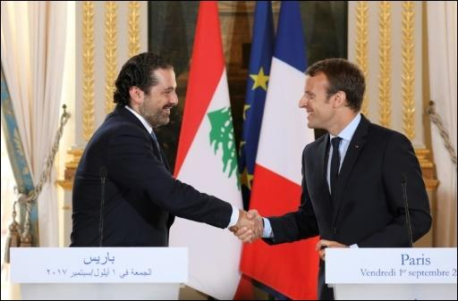 Hariri (l.) und Macron am 1. September 2017 in Paris