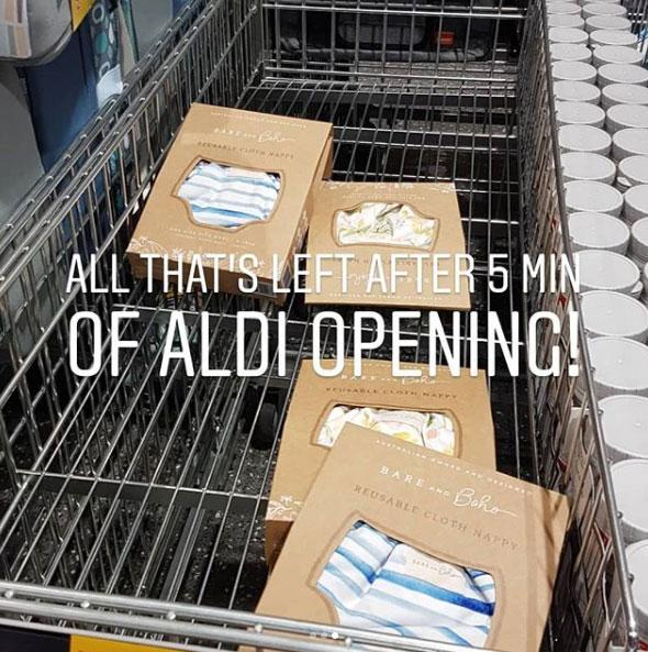 Aldi cloth nappies by Bare and Boho in store
