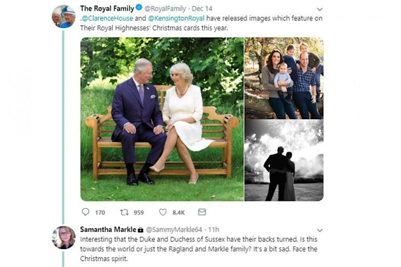 Samantha Markle has slammed her sister's picture choice for her Christmas card (Twitter)