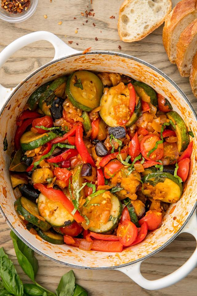 """<p>Ratatouille is a classic for a reaosn.</p><p>Get the recipe from <a href=""""https://www.delish.com/cooking/recipe-ideas/recipes/a54463/easy-traditional-ratatouille-recipe/"""" target=""""_blank"""">Delish. </a></p>"""