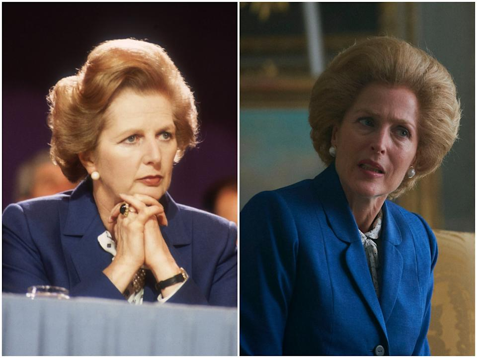 <p>Margaret Thatcher in 1981, Gillian Anderson in 'The Crown' season four</p>Getty Images/Netflix