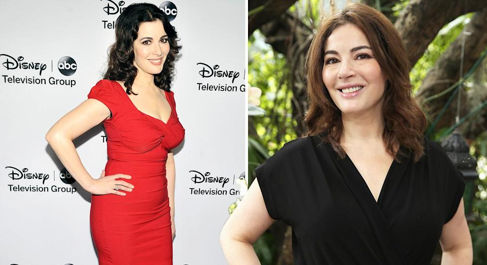 Nigella Lawson, pictured left, at an event in 2013, and right, earlier this year, has spoken out against airbrushing. [Photo: Getty]y