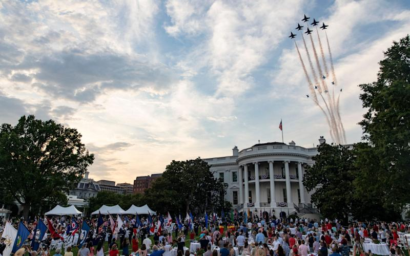 Members of the US Navy Blue Angels and US Army Thunderbirds fly over the White House during the Fourth of July 'Salute to America' event in Washington, DC - SAMUEL CORUM/EPA-EFE/Shutterstock