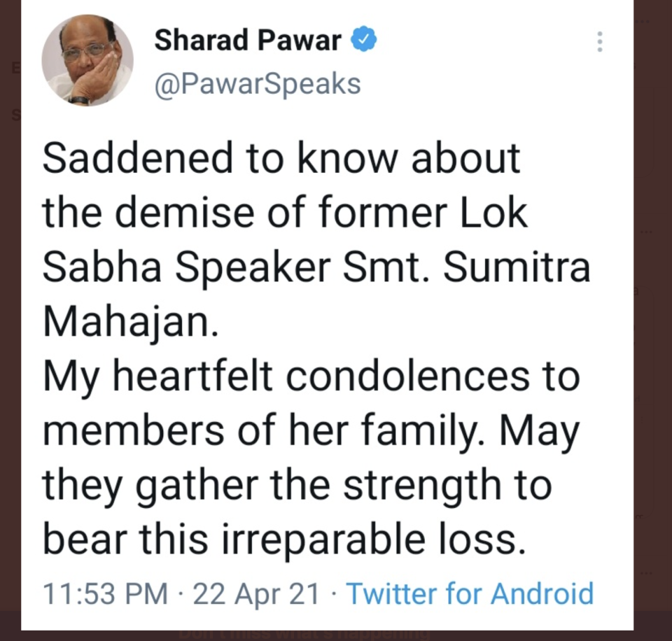 Sharad Pawar wrongly tweets about Sumitra Mahajan's death