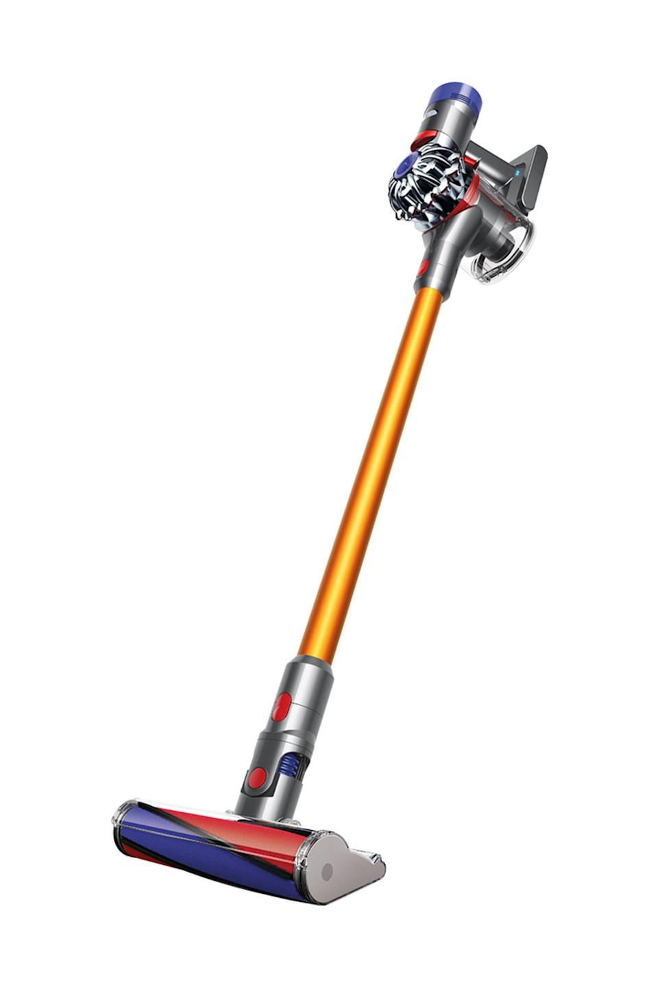 """<br><br><strong>Dyson</strong> v8 Absolute, $, available at <a href=""""https://go.skimresources.com/?id=30283X879131&url=https%3A%2F%2Ffave.co%2F3ivZ0zR"""" rel=""""nofollow noopener"""" target=""""_blank"""" data-ylk=""""slk:Dyson"""" class=""""link rapid-noclick-resp"""">Dyson</a>"""