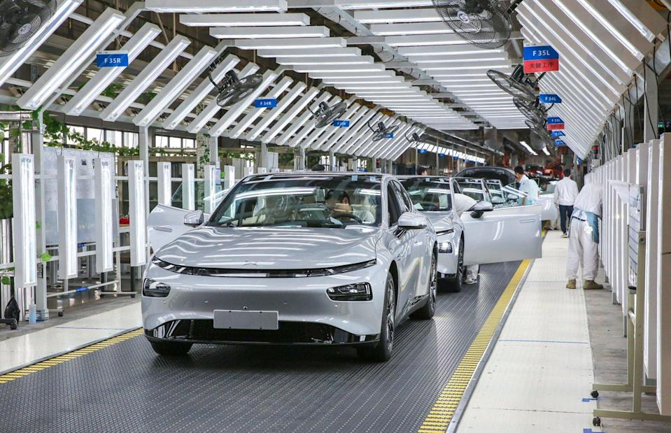 Xpeng's factory in Zhaoqing, Guangdong province. The company, like other EV makers, says it is fully aware of the significance and potential of the EV battery recycling business, but is not yet ready to lay out detailed plans. Photo: Iris Ouyang