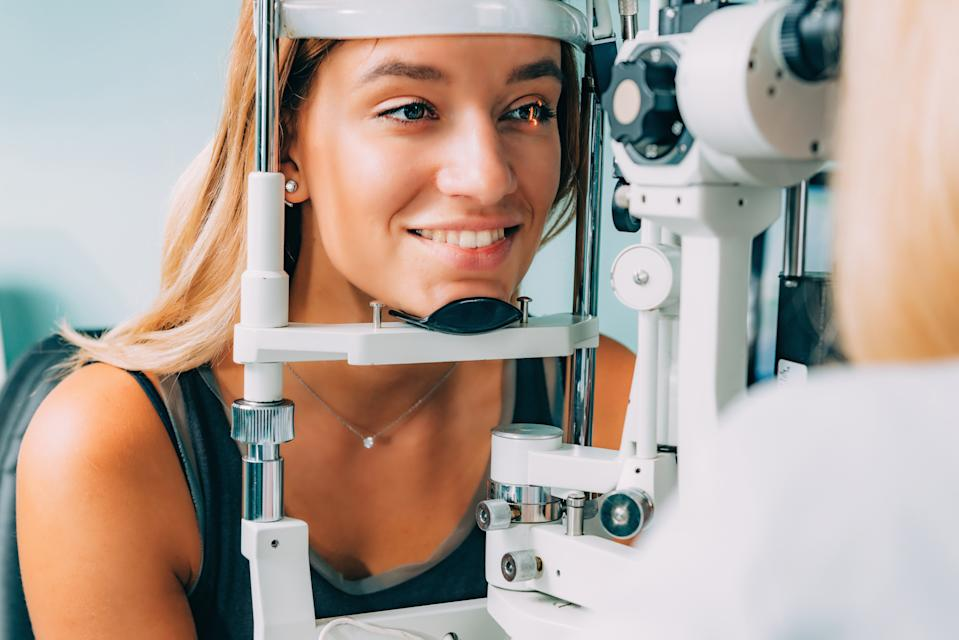 Eye Exam. Applanation tonometry and eye pressure test in Ophthalmology