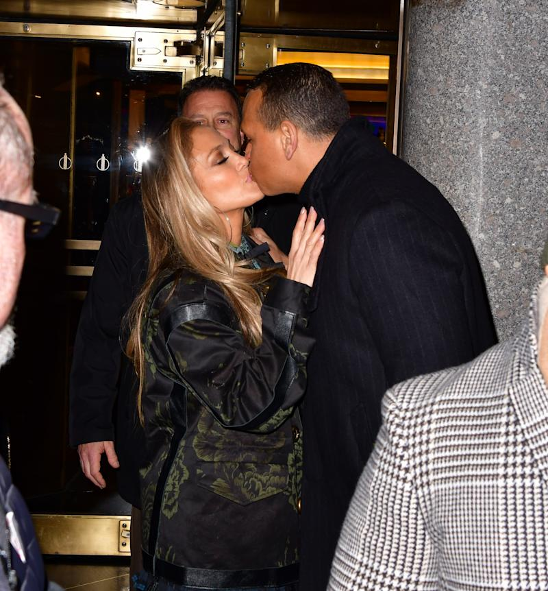 Jennifer Lopez and Alex Rodriguez shared a kiss on December 6. (Photo: James Devaney/GC Images)
