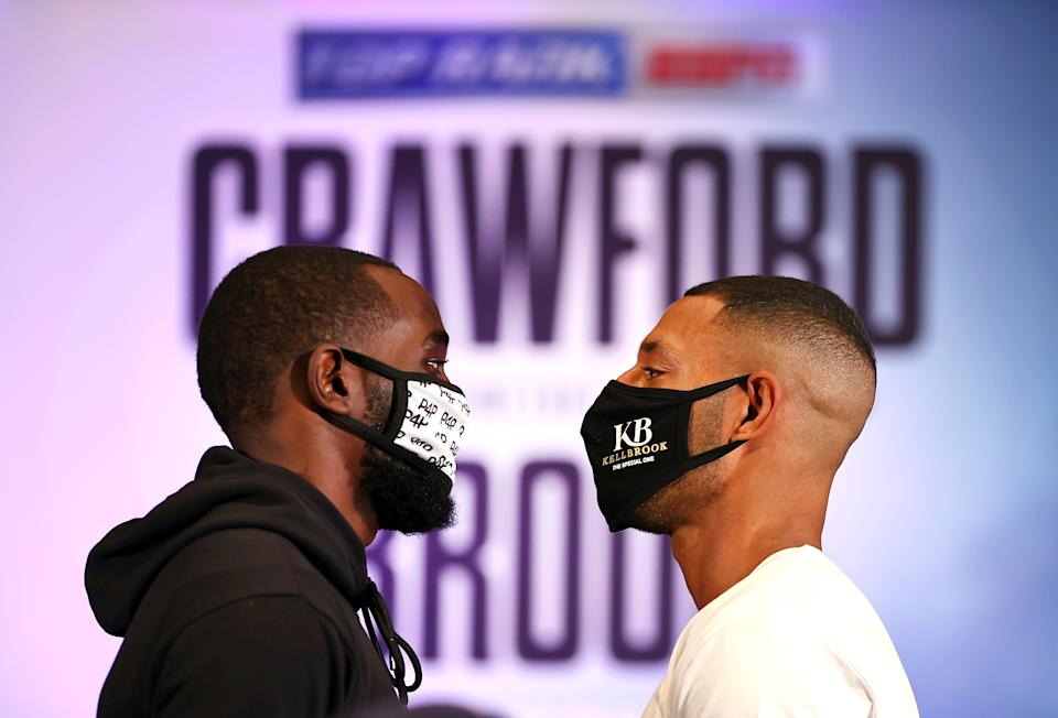 LAS VEGAS, NEVADA - NOVEMBER 11: Terence Crawford and Kell Brook face off during a press conference on November 11, 2020 in Las Vegas, Nevada. (Photo by Mikey Williams/Top Rank Inc via Getty Images)