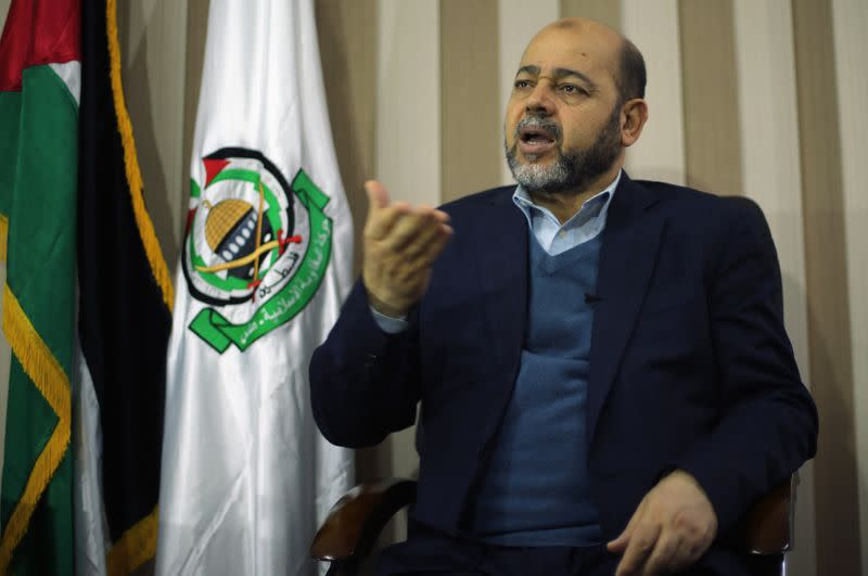 FILE PHOTO: Deputy Hamas chief Moussa Abu Marzouk gestures during an interview with Reuters in Gaza City