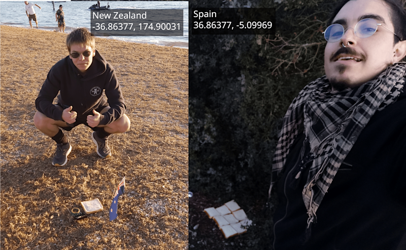 Etienne Naude, left, poses with his side of the Earth sandwich, while his Spanish counterpart poses on the other side of the world: Etienne Naude