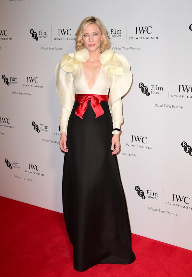 <p>Props to Blanchett and her stylist Elizabeth Stewart for being the first celebrity to don a piece from the Gucci spring'17 collection. The actress made a grand entrance in thisivory and black silk wool gown at a BFI dinner in London, proving that she's still one of the world's best dressed women.<i>[Photo: PA Images]</i></p>