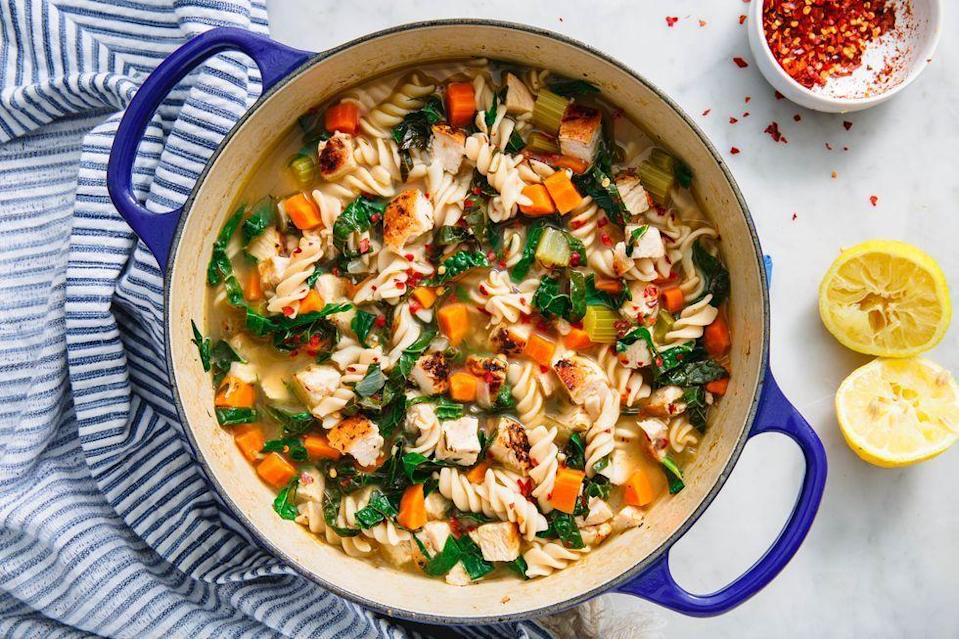 """<p>OK, FINE. <a href=""""https://www.delish.com/uk/cooking/recipes/a31728080/homemade-chicken-noodle-soup-recipe/"""" rel=""""nofollow noopener"""" target=""""_blank"""" data-ylk=""""slk:Classic Chicken Noodle Soup"""" class=""""link rapid-noclick-resp"""">Classic Chicken Noodle Soup</a> is already pretty good for you. But we made this even healthier by loading it up with lots of kale, using low-sodium stock, and opting for boneless skinless chicken breast. </p><p>Get the <a href=""""https://www.delish.com/uk/cooking/recipes/a34582632/healthy-chicken-noodle-soup-recipe/"""" rel=""""nofollow noopener"""" target=""""_blank"""" data-ylk=""""slk:Healthy Chicken Noodle Soup"""" class=""""link rapid-noclick-resp"""">Healthy Chicken Noodle Soup</a> recipe.</p>"""