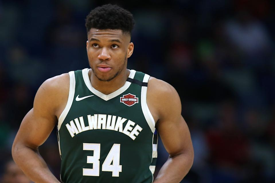 Giannis Antetokounmpo #34 of the Milwaukee Bucks reacts against the New Orleans Pelicans during a game at the Smoothie King Center