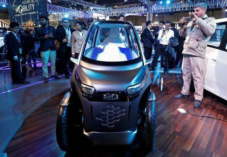 Mahindra showcases its electric two-seater vehicle UDO at the India Auto Show 2018 in Greater Noida, India February 7, 2018. Picture taken February 7, 2018. REUTERS/Saumya Khandelwal