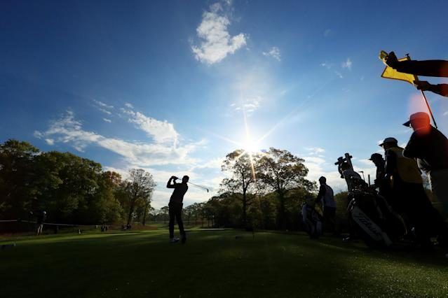 Mike Lorenzo-Vera of France plays his shot from the second tee during the first round of the 2019 PGA Championship at the Bethpage Black course on May 16, 2019 in Farmingdale, New York. (Photo by Mike Ehrmann/Getty Images)
