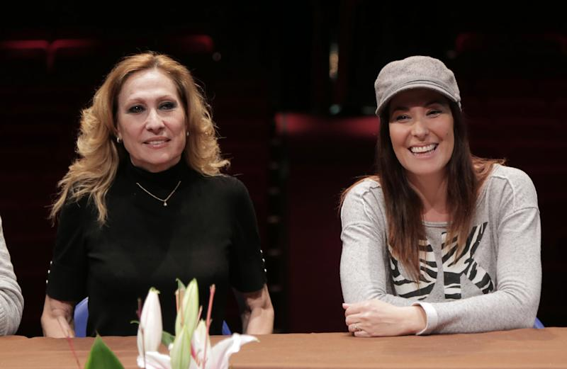 GANDIA, SPAIN - FEBRUARY 18: Chayo Mohedano (R) and her mother Rosa Benito present the musical show 'En Vivo' at Serrano Theatre on February 18, 2015 in Gandia, Spain. (Photo by Europa Press/Europa Press via Getty Images)