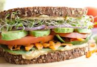 """<p>The key to making the veggie sandwich as satisfying as possible is using 1/4 cup of hummus per sandwich, and choosing a bread that's 100 percent whole wheat and hearty enough to hold all of your veggie fillings. Get the recipe <a href=""""https://www.blessthismessplease.com/?mbid=synd_yahoofood"""" rel=""""nofollow noopener"""" target=""""_blank"""" data-ylk=""""slk:here"""" class=""""link rapid-noclick-resp"""">here</a>.</p><p><b>Per one serving:</b> <em>510 calories, 17 g protein</em></p>"""