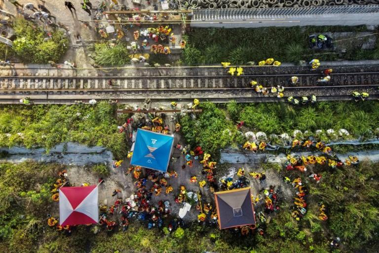 An aerial view shows rescuers working near the site in eastern Taiwan where a train derailed