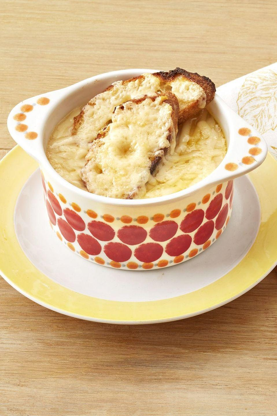 """<p>Make a bowl of cheesy French onion soup even heartier by adding potatoes to the mix.</p><p><strong><a href=""""https://www.thepioneerwoman.com/food-cooking/recipes/a32405569/french-onion-potato-soup-recipe/"""" rel=""""nofollow noopener"""" target=""""_blank"""" data-ylk=""""slk:Get the recipe."""" class=""""link rapid-noclick-resp"""">Get the recipe.</a></strong> </p>"""