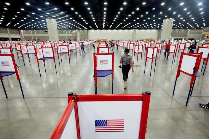 A polling station during the primary election in Louisville, Ky., on June 23, 2020. (Erik Branch/The New York Times)