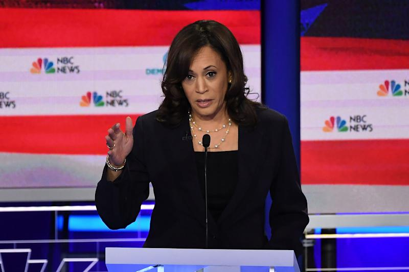 Democratic presidential hopeful US Senator for California Kamala Harris speaks during the second Democratic primary debate of the 2020 presidential campaign season hosted by NBC News at the Adrienne Arsht Center for the Performing Arts in Miami, Florida, June 27, 2019. | Saul Loeb—AFP/Getty Images