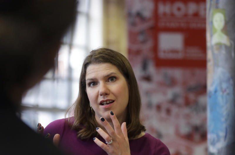 Jo Swinson, Leader of Britain's Liberal Democrats Party talks during a roundtable on homelessness, during a visit to Crisis' Skylight Centre in London, Thursday, Nov. 28, 2019. Jo took part in a roundtable on homelessness with practitioners from Crisis and partner organisations, and individuals with lived experience of homelessness. (AP Photo/Kirsty Wigglesworth)