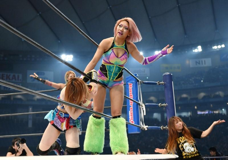 Hana Kimura competes during the New Japan Pro-Wrestling's 'Wrestle Kingdom 14' at Tokyo Dome in Tokyo, Japan