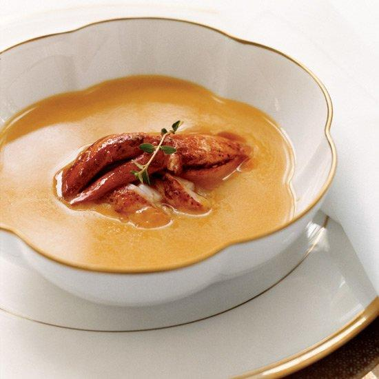 """<p>This version of creamy pumpkin soup is topped with lobster bathed in a spicy butter. The natural brininess of the lobster helps bring out the deep, earthy flavor in the soup.</p><p><a href=""""https://www.foodandwine.com/recipes/pumpkin-soup-with-creole-lobster"""">GO TO RECIPE</a></p>"""
