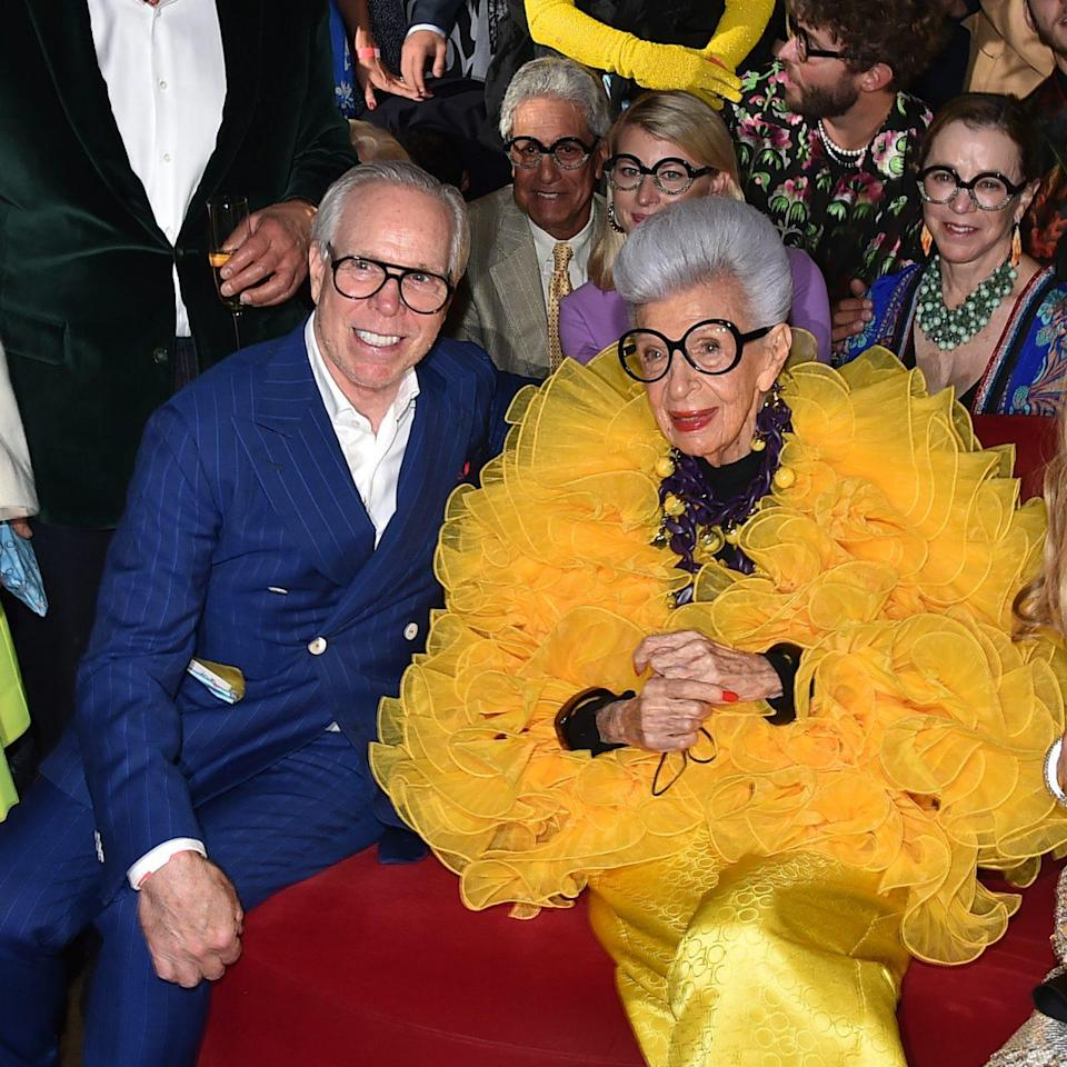 NEW YORK, NEW YORK - SEPTEMBER 09: Tommy Hilfiger and Iris Apfel attend Iris Apfel's 100th Birthday Party at Central Park Tower on September 09, 2021 in New York City. (Photo by Patrick McMullan/Patrick McMullan via Getty Images for Central Park Tower)
