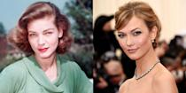 <p>If they weren't decades apart in age, we'd be pretty sure that Lauren Bacall and Karlie Kloss, with their heart-shaped faces and deep set eyes, were long-lost twins. </p>