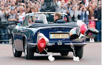 <p>Kate and her father Michael borrowed the queen's 1978 Rolls-Royce Phantom VI for the drive to Westminster Abbey. After the lunch reception, Prince William took the keys to his dad's vintage Aston Martin convertible, which was outfitted with a custom license plate for the day.</p>