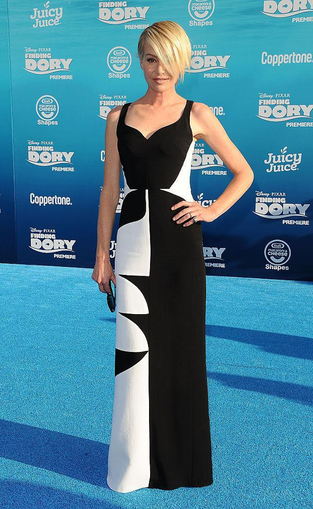 """<p>The possibly-one-eyed celeb showed up to support wife Ellen DeGeneres at the """"Finding Dory"""" premiere in a beautiful black and white gown that accentuated her statuesque figure. <i>(Photo by Jason LaVeris/FilmMagic)</i></p>"""