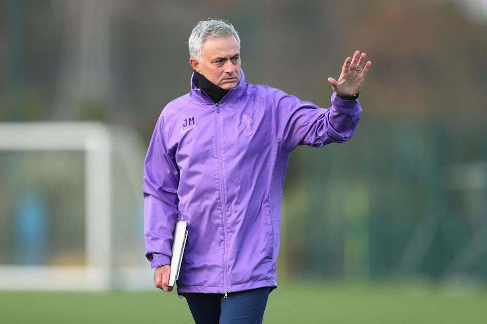 Mourinho takes charge of Spurs training for the first time on Wednesday afternoon (Tottenham Hotspur FC via Getty I)