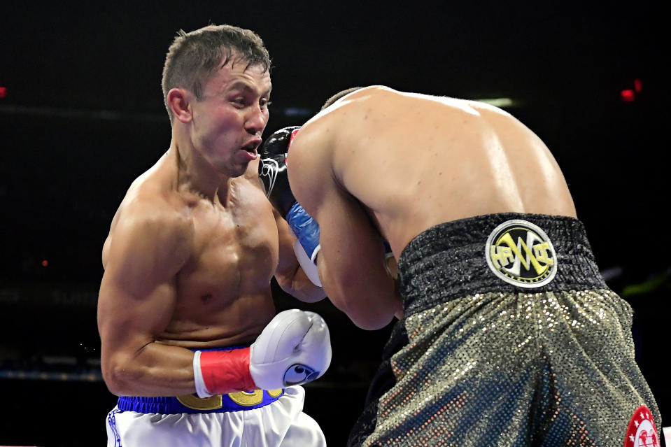 NEW YORK, NEW YORK - OCTOBER 05:  Gennady Golovkin punches Sergiy Derevyanchenko during their IBF middleweight title bout at Madison Square Garden on October 05, 2019 in New York City. (Photo by Steven Ryan/Getty Images)