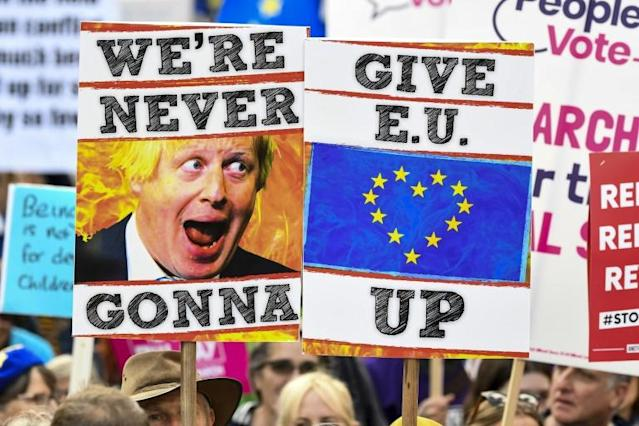 Demonstrators in a march by the People's Vote organisation in central London, England (AFP Photo/Niklas HALLE'N)