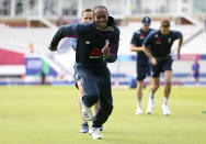 England's Jofra Archer attends a training session at The Oval, London, during the ICC Cricket World Cup, Wednesday, May 29, 2019. (Nigel French/PA via AP)