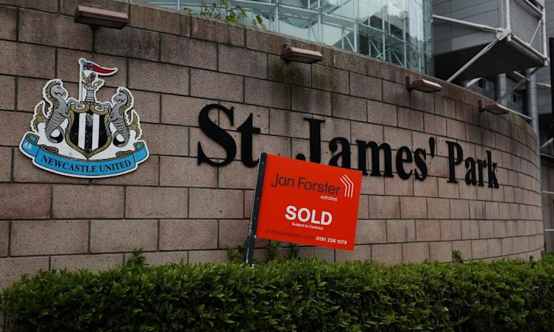 A 'Sold' sign appeared outside Newcastle's stadium in March amid talk of a Saudi-led purchase of the club from the current owner Mike Ashley.