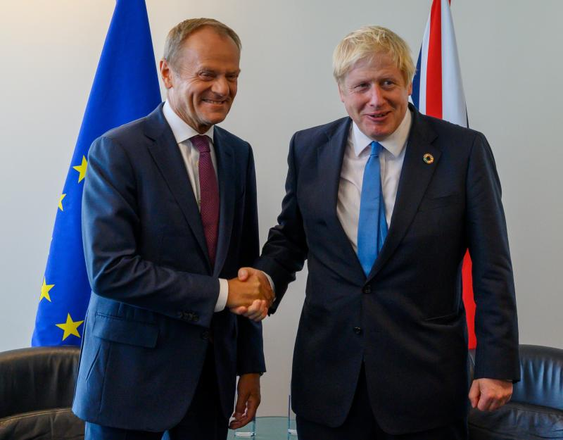 Donald Tusk (L), President of the European Council, and Boris Johnson, Prime Minister of the United Kingdom, meet at the United Nations September 23, 2019, in New York. (Photo by Don Emmert / AFP) (Photo credit should read DON EMMERT/AFP via Getty Images)