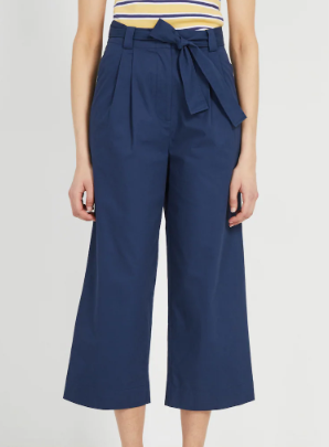 Good Cotton Super High-Waisted Belted Pants in Dark blue