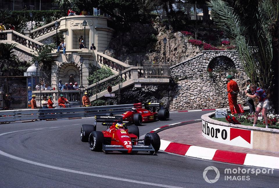 "Alboreto leads Gerhard Berger at Monaco in 1987. Michele matched Gerhard on qualifying pace for the first half of the season but disillusionment and a subsequent drop in pace were just around the corner. <span class=""copyright"">Motorsport Images</span>"