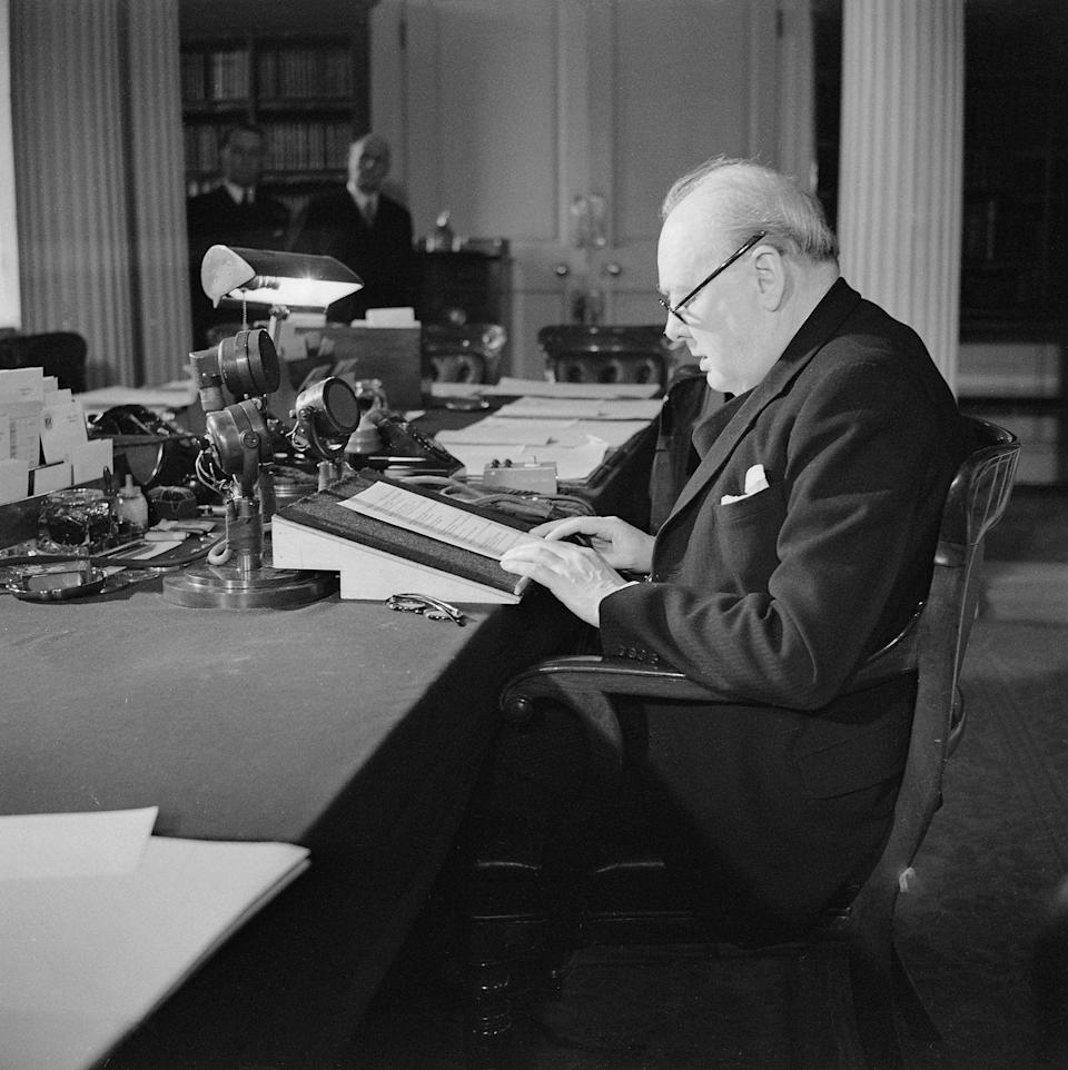 """<p>Winston Churchill making his V-E Day broadcast. """"God bless you all,"""" he sad. """"This is your victory! It is the victory of the cause of freedom in every land. In all our long history we have never seen a greater day than this. Everyone, man or woman, has done their best. Everyone has tried. Neither the long years, nor the dangers, nor the fierce attacks of the enemy, have in any way weakened the independent resolve of the British nation. God bless you all.""""</p>"""