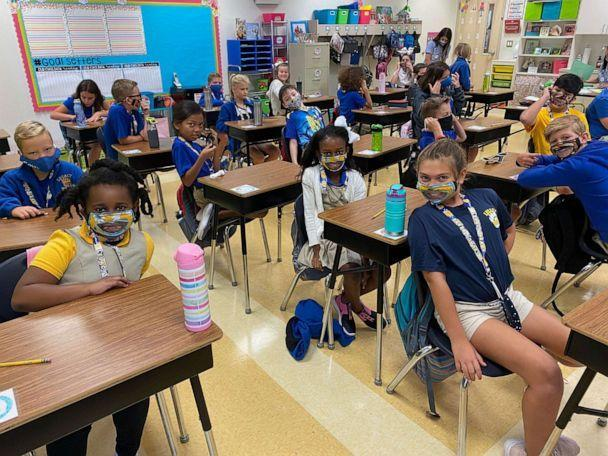 PHOTO: Leslie Bailey, an instructional coach at Legacy Elementary School in Bossier City, Louisiana, created masks with clear, vinyl windows for children with hearing loss. (Sonja Bailes/Bossier Schools)