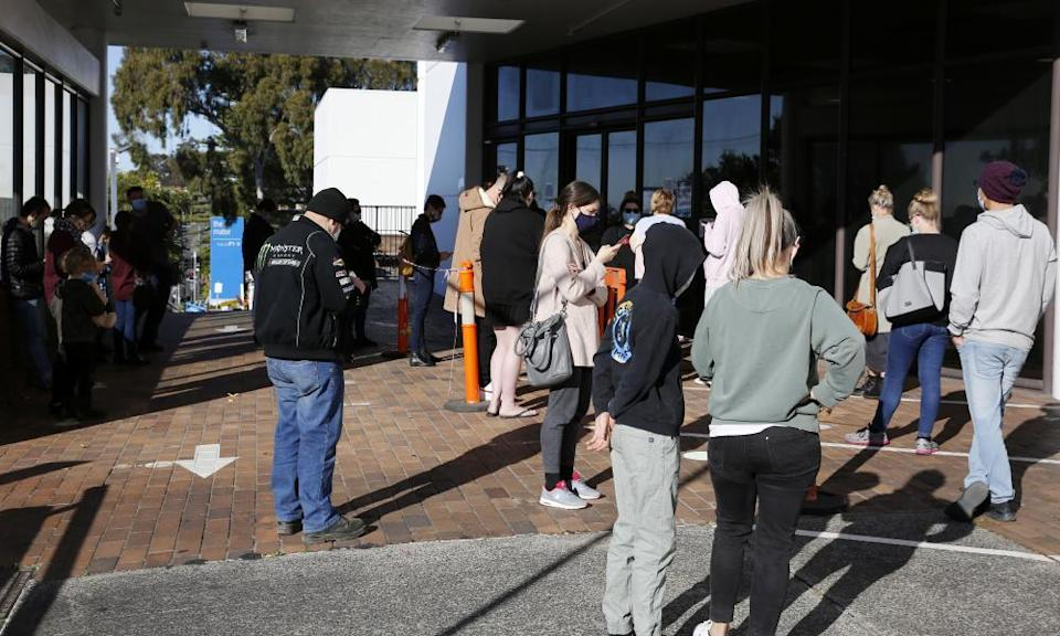 Newcastle residents queue for testing at the Mater hospital on Thursday